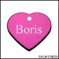 pink heart pet tag