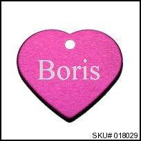 pink heart pet tag