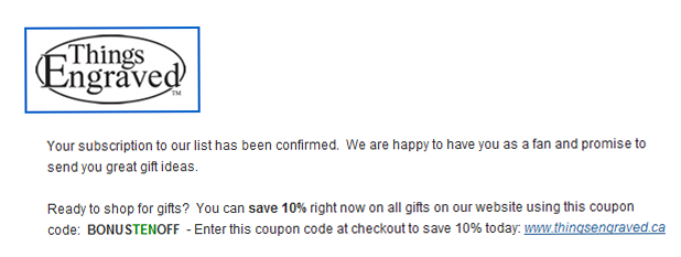 email coupon code image
