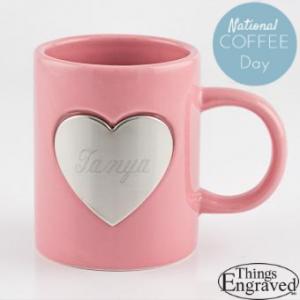 national coffee day - pink mug