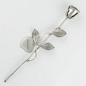 Pewter Rose With Heart Disc