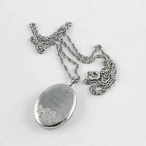 Oval Locket Necklace - Swan Design