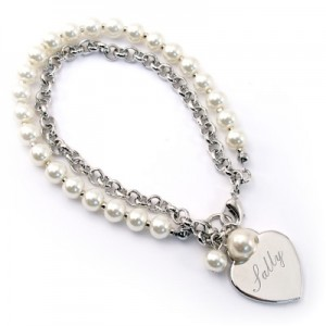 Bracelet - Pearls and Link Chain Things Engraved