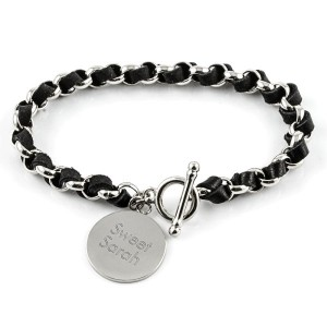 Black Leather/Silver Bracelet Things Engraved