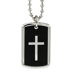Cross with Black Dog Tag Pendant Things Engraved