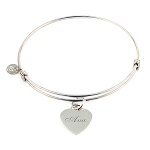 """""""Alluring"""" Sterling Silver Bangle with Heart Charm Things Engraved"""