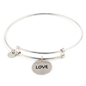 """""""Sweet"""" Sterling Silver Bangle with Love Charm Things Engraved"""
