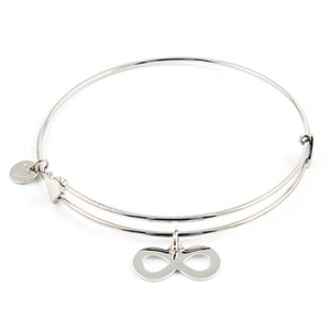 """""""Confident"""" Sterling Bangle with Infinity Charm Things Engraved"""