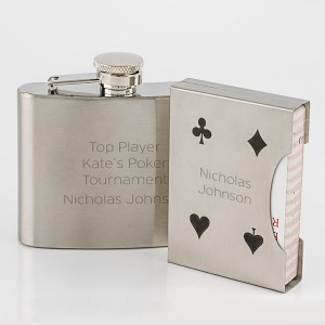 Stainless Steel Flask with Playing Card Set