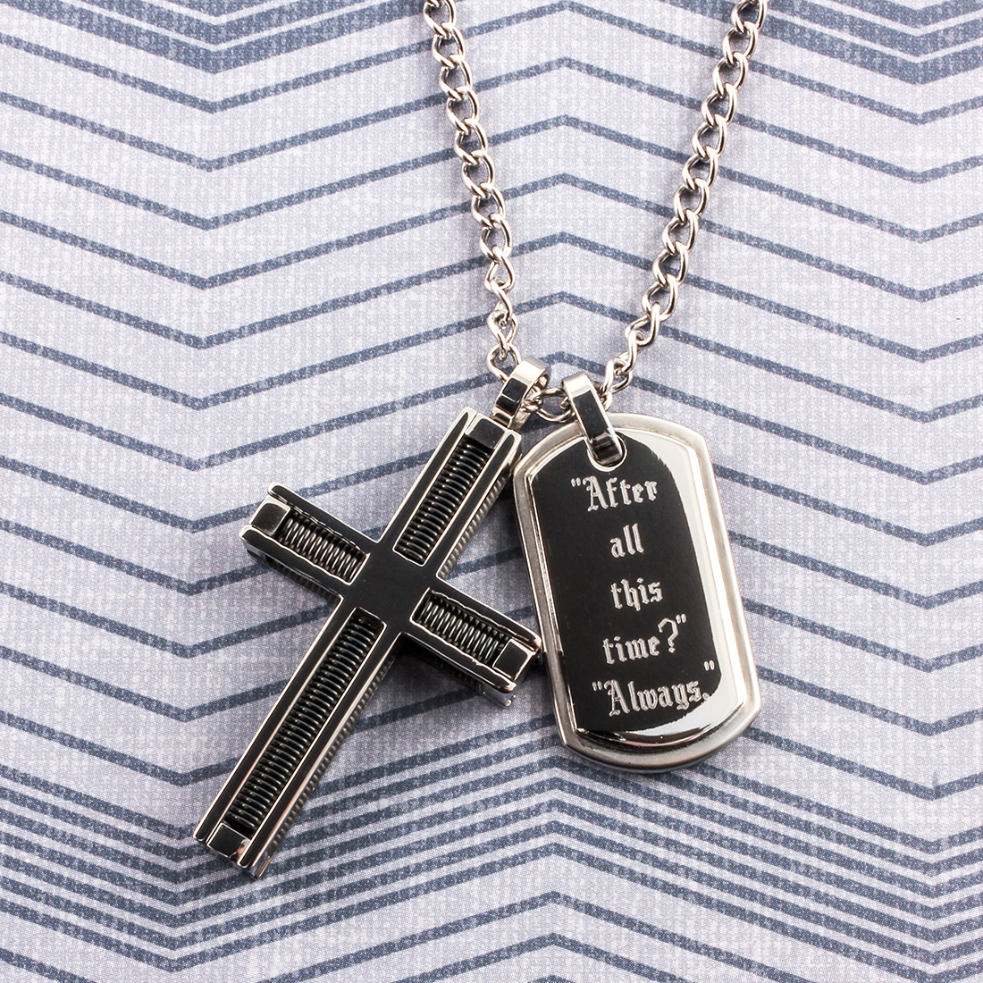 Spring Cross and Tag Pendant Set on Chain