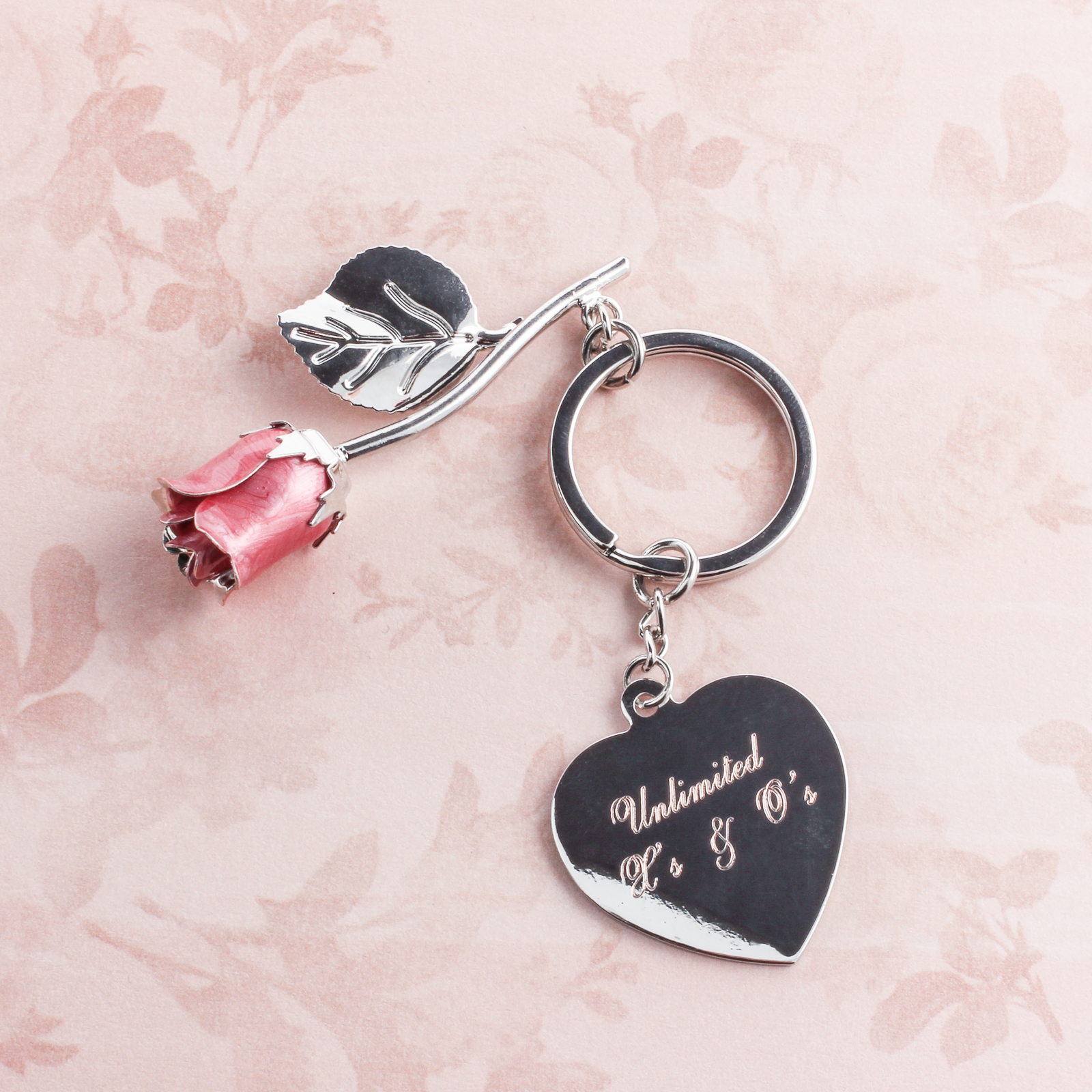 Pink Rose Keychain with Heart
